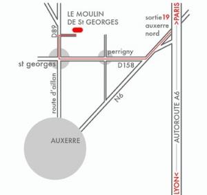 Plan Moulin de Saint Georges, gite de charme à Auxerre